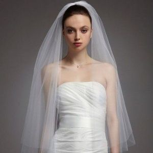 David's Bridal Ivory 2 tier walking veil - new!